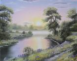 Картина, Поезія літнього вечора, 50х40 см. Живопис на полотні, фото №3