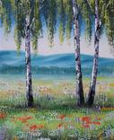 Картина, Берези на квітучому лузі, 25х30 см. Живопис на полотні, фото №3