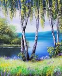 Картина, Берези біля води, 25х30 см. Живопис на полотні, фото №2