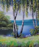 Картина, Берези біля води, 25х30 см. Живопис на полотні, фото №3