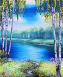 Картина, Стежка до річки, 25х30 см. Живопис на полотні, фото №2