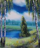 Картина, Стежина біля ставу, 25х30 см. Живопис на полотні, фото №4