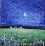 Картина, Хуторець під зорями, 15х15 см. Живопис на полотні, фото №3