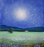 Картина, Місячне сяйво, 15х15 см. Живопис на полотні, фото №3
