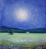 Картина, Місячне сяйво, 15х15 см. Живопис на полотні, фото №4