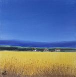Картина, Жовто-блакитне, 15х15 см. Живопис на полотні, фото №3