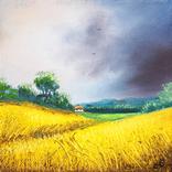 Картина, Небо над полями, 15х15 см. Живопис на полотні, фото №2