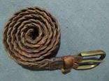 Пояс Старинный кожаный плетённый ремень Германия, фото №3