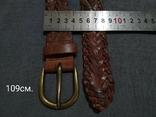 Пояс Старинный кожаный плетённый ремень Германия, фото №4