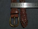 Пояс Старинный кожаный плетённый ремень Германия, фото №8