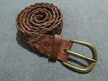 Пояс Старинный кожаный плетённый ремень Германия, фото №2