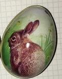 Шкатулка жестяная, пасхальное яйцо, зайчик (кролик), фото №7
