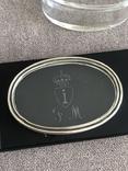 Старинная стекляная шкатулочка с гравировкой, ободок крышечки серебро 800 пр, фото №6