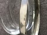 Старинная стекляная шкатулочка с гравировкой, ободок крышечки серебро 800 пр, фото №8