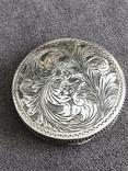 Винтажная серебряная пудреница с зеркалом, штихель (серебро 800 пр, вес 54 гр), фото №5