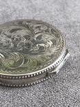 Винтажная серебряная пудреница с зеркалом, штихель (серебро 800 пр, вес 54 гр), фото №6
