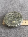 Винтажная серебряная пудреница с зеркалом, штихель (серебро 800 пр, вес 54 гр), фото №9
