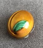 Винтажная серебряная шкатулочка/ таблетница в эмалях Персик (серебро 800 пр, вес 21,3 гр), фото №4