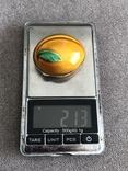 Винтажная серебряная шкатулочка/ таблетница в эмалях Персик (серебро 800 пр, вес 21,3 гр), фото №8