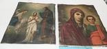 Иконы Богородицы и крещение господне написаны на коже 43/34см, фото №2