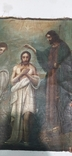 Иконы Богородицы и крещение господне написаны на коже 43/34см, фото №8