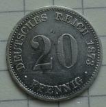 20 пфенигов, 1873 год, FF., фото №2