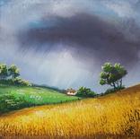 Картина, Розмова неба та землі, 15х15 см. Живопис на полотні, фото №4