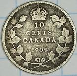 10 центов 1908 год Канада Серебро, фото №2