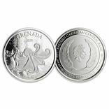 2 Доллара 2020 Гренада (Серебро 0.999, 31.1г) 1oz, Восточные Карибы Унция, фото №2
