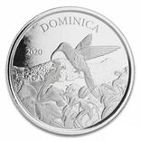 2 Доллара 2020 Доминика (Серебро 0.999, 31.1г) 1oz, Восточные Карибы Унция, фото №2