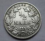 1/2 марки 1919 г. (Е) Германия, серебро, фото №2