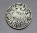 1/2 марки 1919 г. (Е) Германия, серебро, фото №3