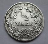 1/2 марки 1919 г. (Е) Германия, серебро, фото №5