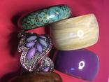 Браслеты, металл, сплав, пластик, роспись по дереву, набор 6 штук., фото №2