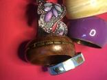 Браслеты, металл, сплав, пластик, роспись по дереву, набор 6 штук., фото №4