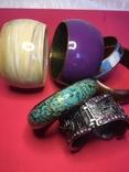 Браслеты, металл, сплав, пластик, роспись по дереву, набор 6 штук., фото №5