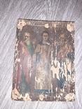Икона Спаситель Иисус Христоссо святыми  на дереве 17*23см 19 век, фото №3
