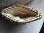 Театральная золотая сумочка -кошель, обшитая бисером, пайетками и бусинами., фото №7