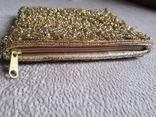 Театральная золотая сумочка -кошель, обшитая бисером, пайетками и бусинами., фото №8