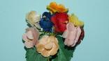Брошка искусственные цветы ГДР, фото №4