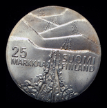 Финляндия 25 марок 1978 серебро 26,3 грамм, фото №4