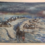 """""""Прощание на краю села"""". 1951г. 40х31. Масло. Фанера., фото №2"""