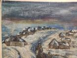 """""""Прощание на краю села"""". 1951г. 40х31. Масло. Фанера., фото №4"""