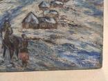 """""""Прощание на краю села"""". 1951г. 40х31. Масло. Фанера., фото №6"""