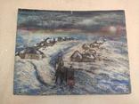 """""""Прощание на краю села"""". 1951г. 40х31. Масло. Фанера., фото №9"""