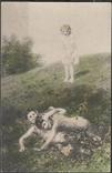 Лесная фея и два фавна. Почтовая открытка, фото №2