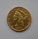 """США 5 долларов, 1886г . """"Половина орла"""", фото №2"""