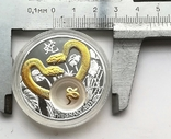 1 доллар год Змеи Серебро и позолота Остров Ниуэ, фото №4