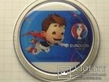 Монета футбол евро 2016 Франция большая, больше 60грамм в капсуле копия, фото №2