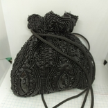 Вечерняя сумочка на затяжке. Ручная расшивка бисером и стеклярусом. Индия. 16х16см. Новая, фото №7